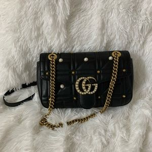 Gucci marmont with studded and pearl bag